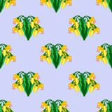 Pattern with yellow flowers vector illustration
