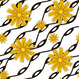 Pattern with yellow flowers and  wavy lines Royalty Free Stock Photography