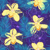 Pattern with yellow orchids. Vector seamless pattern with yellow orchids on dark blue background Royalty Free Stock Photos
