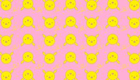 Pattern yellow piggy background pink flat design for baby supplies vector illustration
