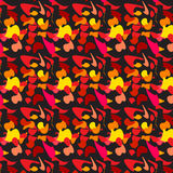 Pattern yellow red black leaves waves Royalty Free Stock Images