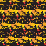 Pattern yellow red black leaves waves seamless Royalty Free Stock Photo