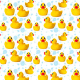 Pattern yellow rubber duck Stock Photos