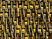 Pattern of yellow scaffolding heads. A pile of yellow scaffolding heads Stock Photos