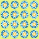 Pattern yellow sun with shine illustration. Design motif with the theme of the sun and its rays with made of the appropriate dot pxel Stock Photos