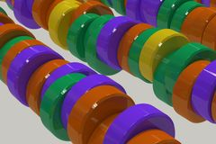 Pattern of yellow, violet and green cylinder tablets on white background. Plastic pucks. Abstract background. 3D rendering illustration Royalty Free Stock Photography