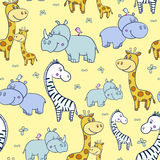 Pattern with zebras and Hippo,giraffe4-01. Seamless pattern with cute smiling Hippo and a bird on his head,Rhino,zebra, giraffe with spots on a background Stock Images