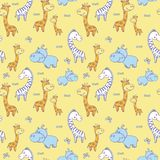 Pattern with zebras and Hippo,giraffe22. Seamless pattern with cute smiling Hippo and a bird on his head,Rhino,zebra, giraffe with spots on a yellow background Stock Illustration