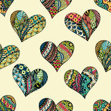 Pattern of zentangle hearts Royalty Free Stock Images