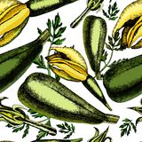 Pattern of zucchini and inflorescences Stock Photos