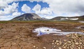 Patternd研了与在美好的原始冰岛风景的泥镇压 冰岛 免版税库存照片