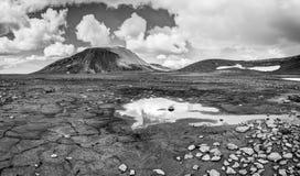 Patternd研了与在美好的原始冰岛风景的泥镇压 冰岛 免版税图库摄影