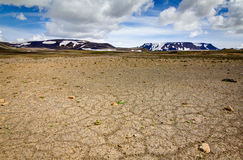 Patternd ground with polygons in beautiful primordial icelandic highland. Iceland Royalty Free Stock Image