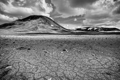 Patternd ground with polygons in beautiful primordial icelandic highland. Iceland Stock Image