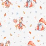 Patternd sans couture de Noël avec le personnage de dessin animé mignon - le Christ illustration libre de droits