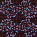 Patterne inconsútil floral, flores lindas de la historieta en fondo marrón Imagen de archivo libre de regalías
