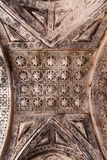 Patterned artwork in the ceiling. In an abandoned church in Zaragoza, Spain royalty free stock image