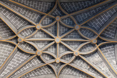 Patterned artwork in the ceiling. In a church in Ansó, Huesca (Spain royalty free stock image