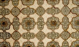 Patterned artwork in the ceiling. Amber Fort India. Patterned artwork in the ceiling in one of the Amber Fort palaces, India royalty free stock images