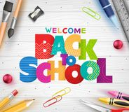 Patterned Back to School Colorful Text with Different School Supplies. In White Wooden Background Banner. Vector Illustration stock illustration