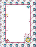 Patterned Background. Cute,colorful background with a cheerful pattern and floral elements. Letter format proportions Stock Photo