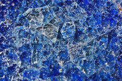 Patterned background, blue broken glass with bubbles of air Stock Images