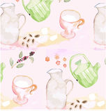 Patterned background watercolor painting Stock Photos