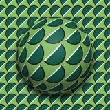Patterned ball rolling along the same surface. Abstract vector optical illusion illustration. Motion background seamless wallpaper. Patterned ball rolling along Stock Photos