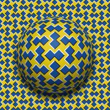 Patterned ball rolling along the same surface. Abstract vector optical illusion illustration. Motion background. And tile of seamless wallpaper Royalty Free Stock Photo