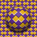 Patterned ball rolling along the same surface. Abstract vector optical illusion illustration. Motion background Stock Photo