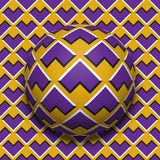 Patterned ball rolling along the same surface. Abstract vector optical illusion illustration. Motion background Royalty Free Stock Photo