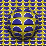 Patterned ball rolling along the same surface. Abstract vector optical illusion illustration. Motion background. And tile of seamless wallpaper Royalty Free Stock Photos