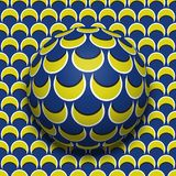 Patterned ball rolling along the same surface. Abstract vector optical illusion illustration. Motion background. And tile of seamless wallpaper Stock Photos