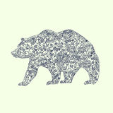 Patterned bear silhouette Stock Image
