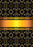 Patterned black background with gold ribbons Royalty Free Stock Images