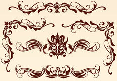 Patterned borders corners. Patterned borders and corners for decoration and design works with floral motifs in art nouveau vintage style with beautiful floral Royalty Free Stock Photos