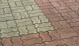 Patterned brick walkway cement Stock Image