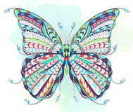 Patterned butterfly on the grunge background. Stock Images