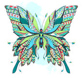 Patterned butterfly on the grunge background. Stock Photography