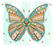 Patterned butterfly on the grunge background. Stock Photos