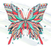 Patterned butterfly on the grunge background. Royalty Free Stock Photography