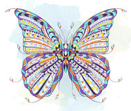 Patterned butterfly on the grunge background. vector illustration