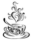 Patterned cap of coffee. Batik/African / indian / totem / tattoo design Royalty Free Stock Images