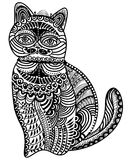 Patterned cat. In a vintage style on a white background Stock Photo
