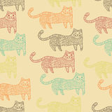 Patterned cats seamless pattern Royalty Free Stock Image
