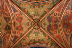 Patterned ceiling. Of St Peter and St Paul basilica in Vysehrad fortress in Prague, Czech Republic royalty free stock image
