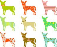 Patterned chihuahuas Royalty Free Stock Photos