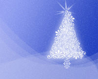 Patterned Christmas background Xmas tree design. Blue abstract Christmas snow background with a white Xmas tree made of swirls Royalty Free Stock Photos