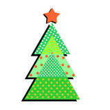 Patterned Christmas tree on a white background. Funny illustrati. On of a simple holiday flat in trendy style Royalty Free Stock Photography
