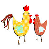 Patterned cock and hen on a white background. Funny illustration. Of a simple holiday flat in trendy style Royalty Free Stock Image